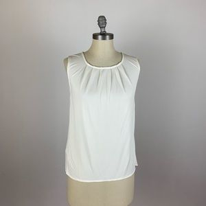 Ann Taylor White Pleated Tank Top